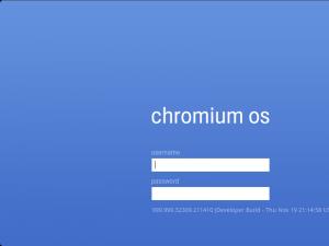 Pantalla de inicio de Chromium OS